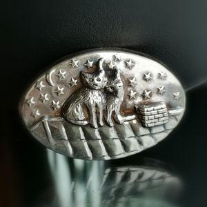 Sterling Silver brooch pin Cats Friends hand made